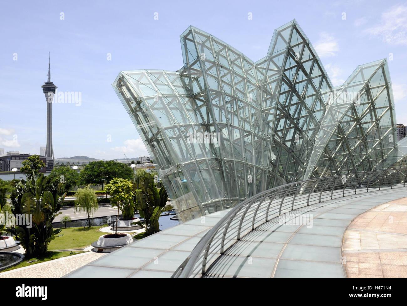 Sending tower, terrace, palms, glass construction, railing, Macau, China, - Stock Image