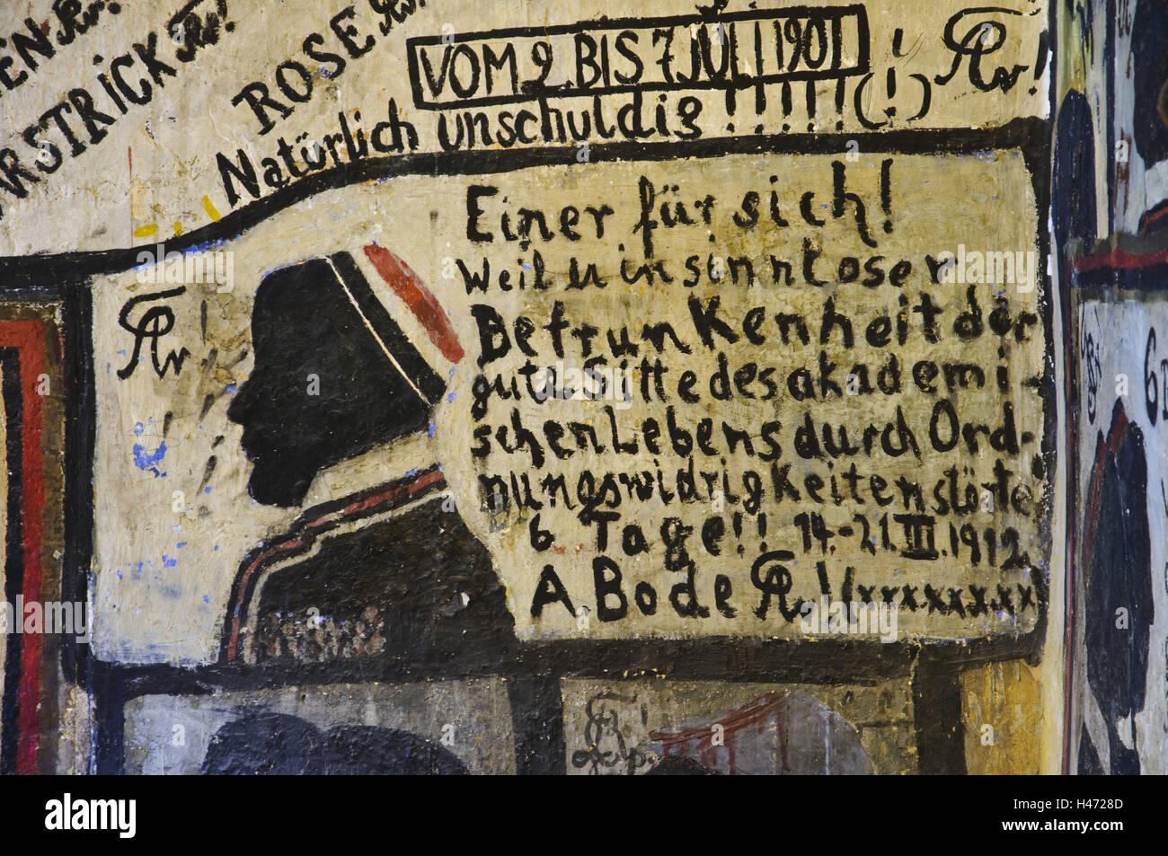 Heidelberg, student detention cell, mural paintings, graffiti, university, Baden-Wurttemberg, Germany, - Stock Image