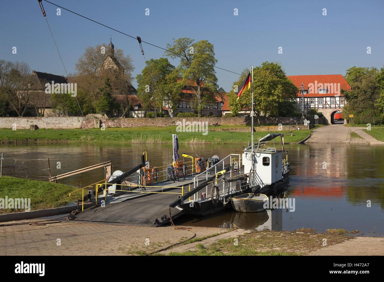 Germany, Lower Saxony, Weser ferry Grohnde, - Stock Image