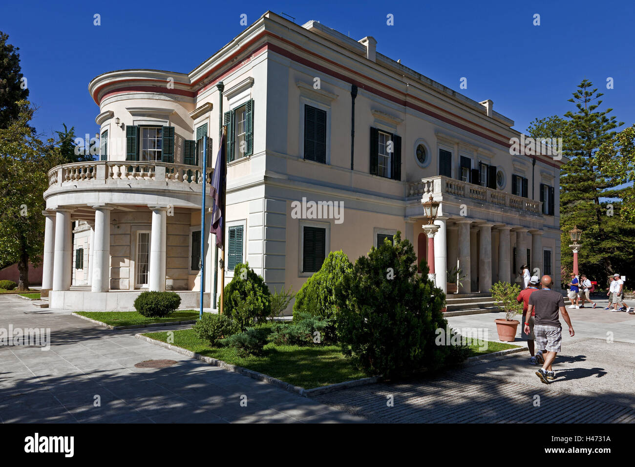Greece, Corfu, Palace Mon Repos, tourists Analipsi Peninsula, Corfu, Kerkira, Southern Europe, Europe, Analipsi, - Stock Image