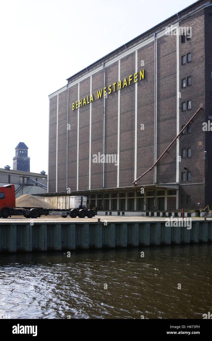 West harbour, west harbour BEHALA, Berlin-splinter duration navigation channel, Berlin, Germany, - Stock Image