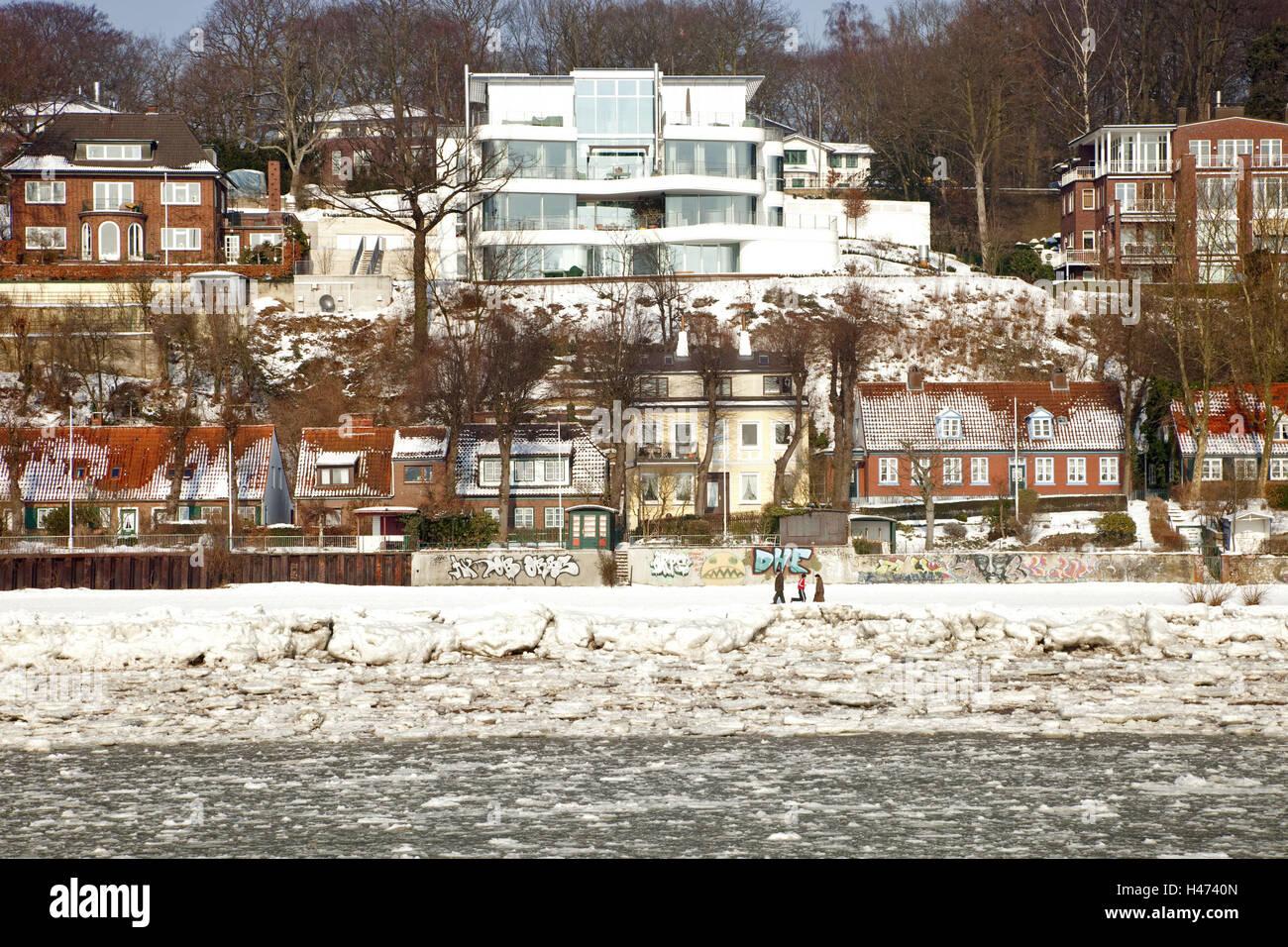 Elbufer, winter, Stock Photo