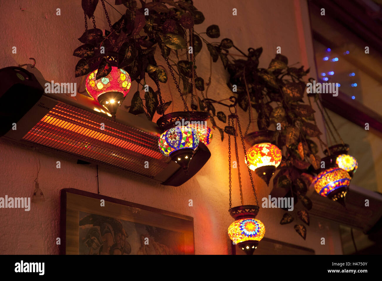 Lamps, brightly, hang, heating, radiant heater, ivy, oriental, lamps, glass lamps, mosaic, decoration, brightly, - Stock Image