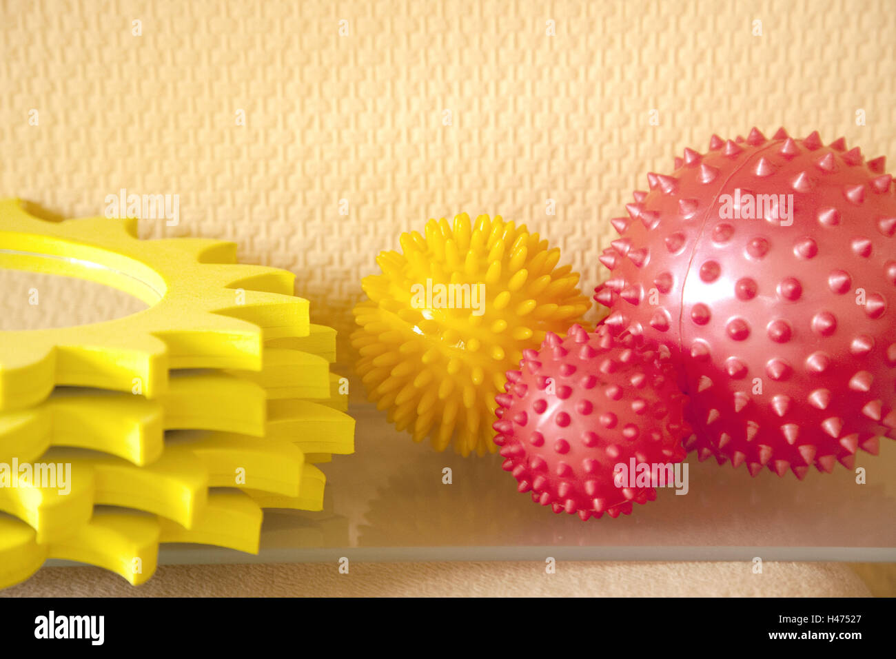 Massage balls, therapy, interior shot, toys, play, icon, accessory, heal, practise, massage, sizes, colours, passed - Stock Image