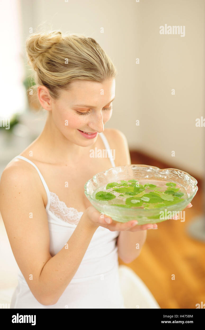 Young woman makes aromatic therapy, - Stock Image
