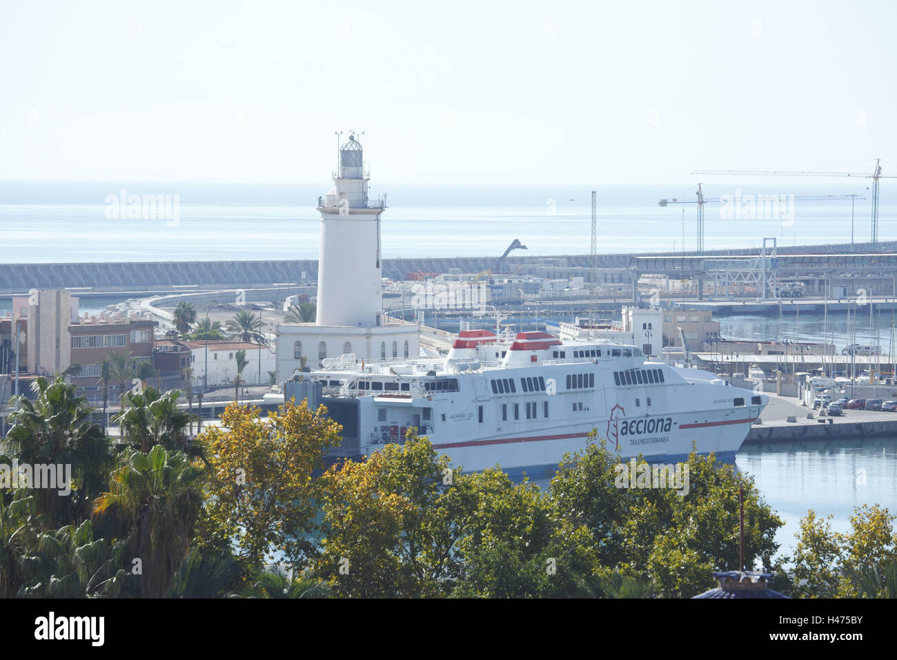 Spain, Andalusia, Malaga, harbour with lighthouse, Stock Photo