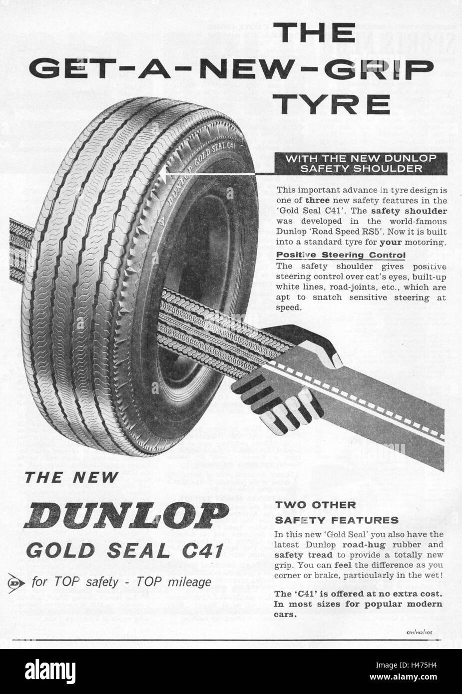 Advert for the new Dunlop Gold Seal C41 tyre from a magazine in 1962. - Stock Image