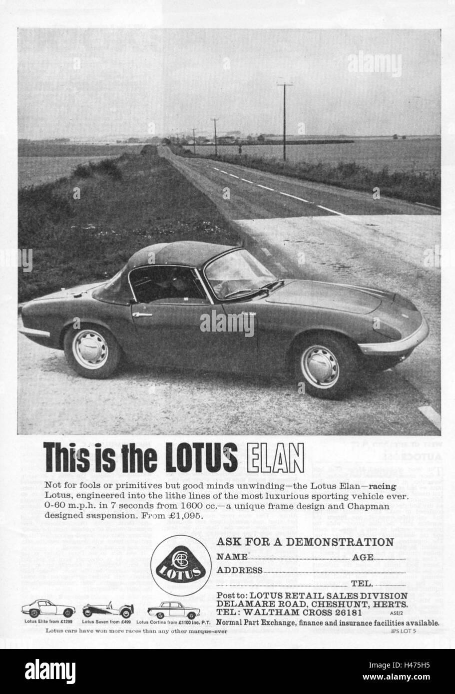 1963 Lotus Elite unique Vintage Advertisement Ad