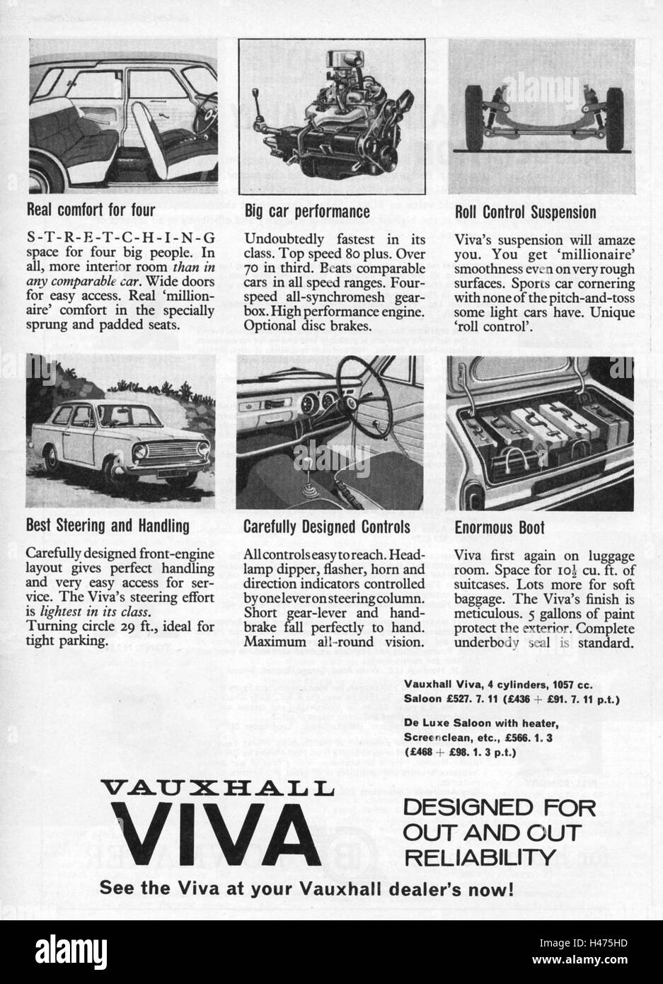 Advert for Vauxhall Viva car from a magazine in 1963. - Stock Image