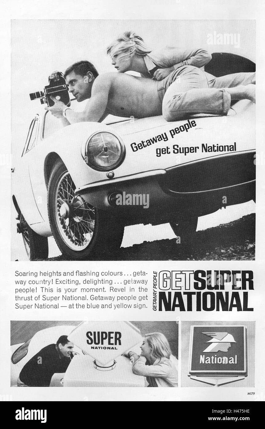 Advert for National petrol from a magazine in 1963. - Stock Image
