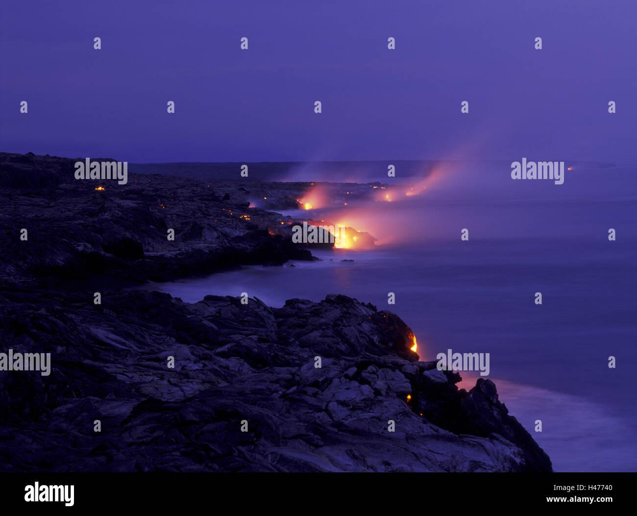 USA, Hawaii, Big Island, Hawaii Volcanoes National Park, East Rift Zone, lava flow, - Stock Image
