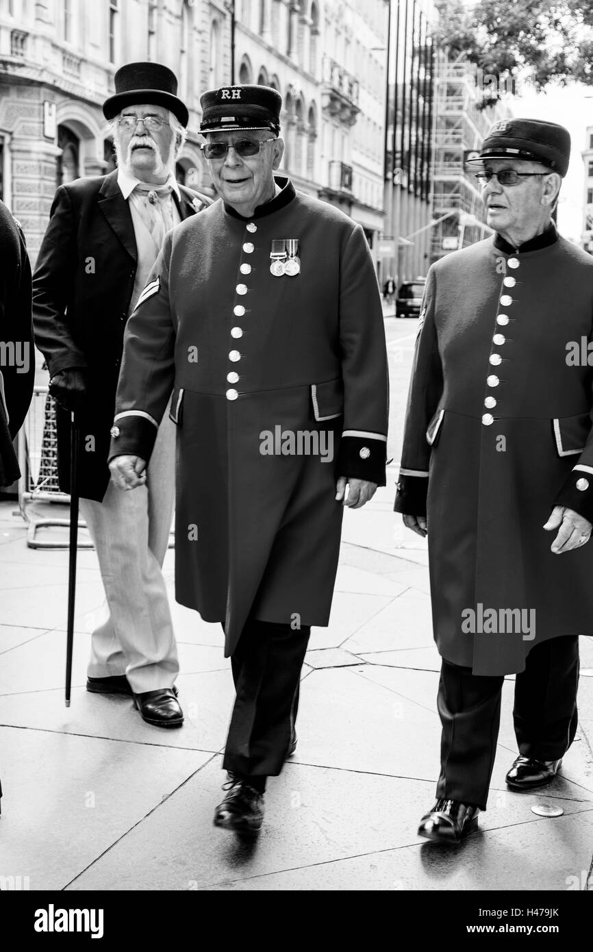 Two Chelsea Pensioners Arrive At The Pearly Kings and Queens' Harvest Festival, The Guildhall Yard, London, - Stock Image