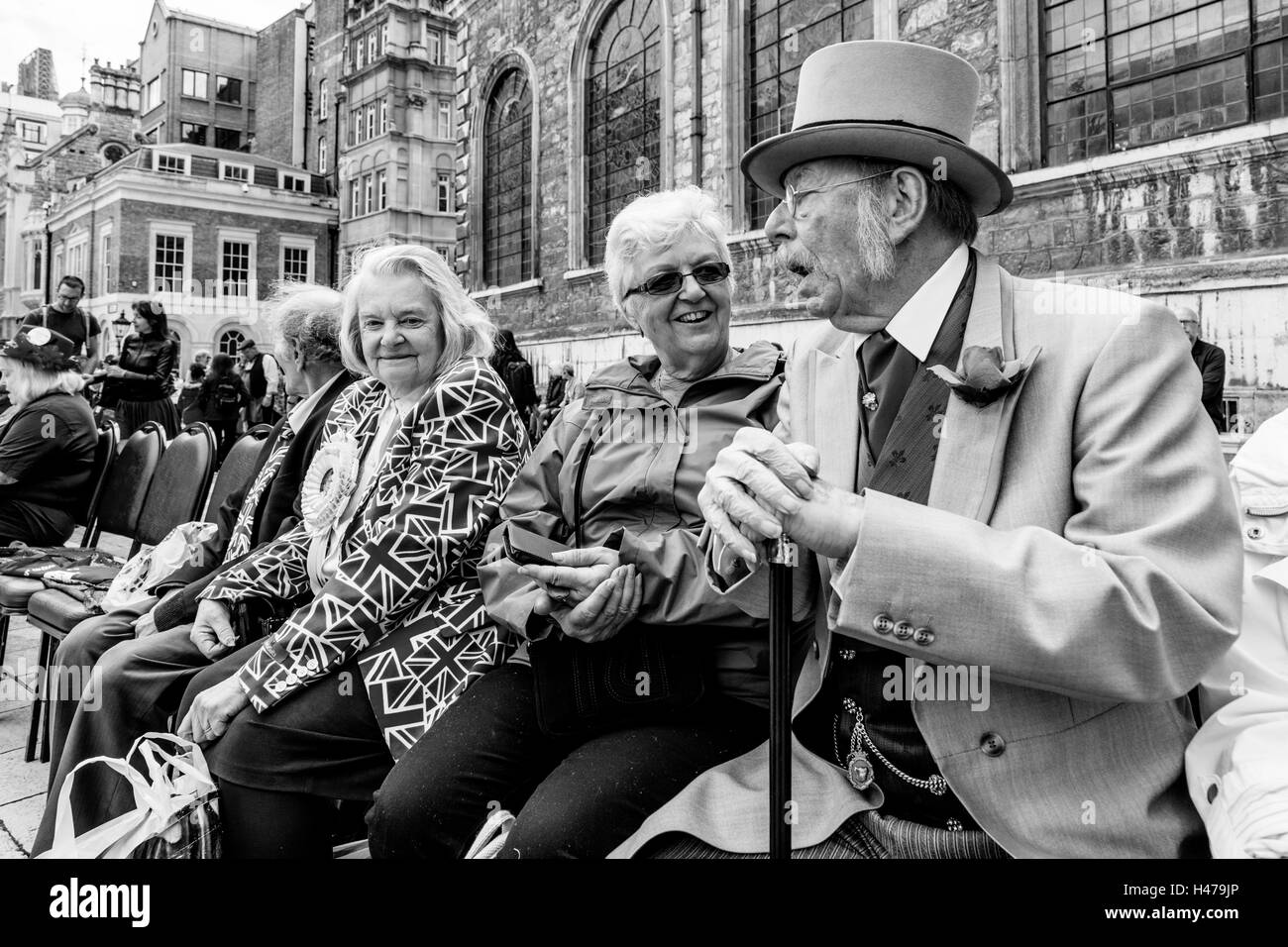 People In Costume Take Part In The Pearly Kings and Queens' Harvest Festival, The Guildhall Yard, London, England - Stock Image