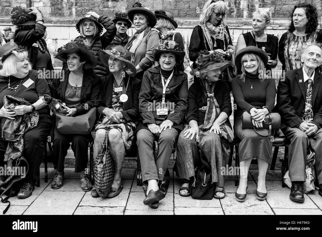 The London Red Hatters At The Pearly Kings and Queens' Harvest Festival, Held Annually At The Guildhall Yard, - Stock Image