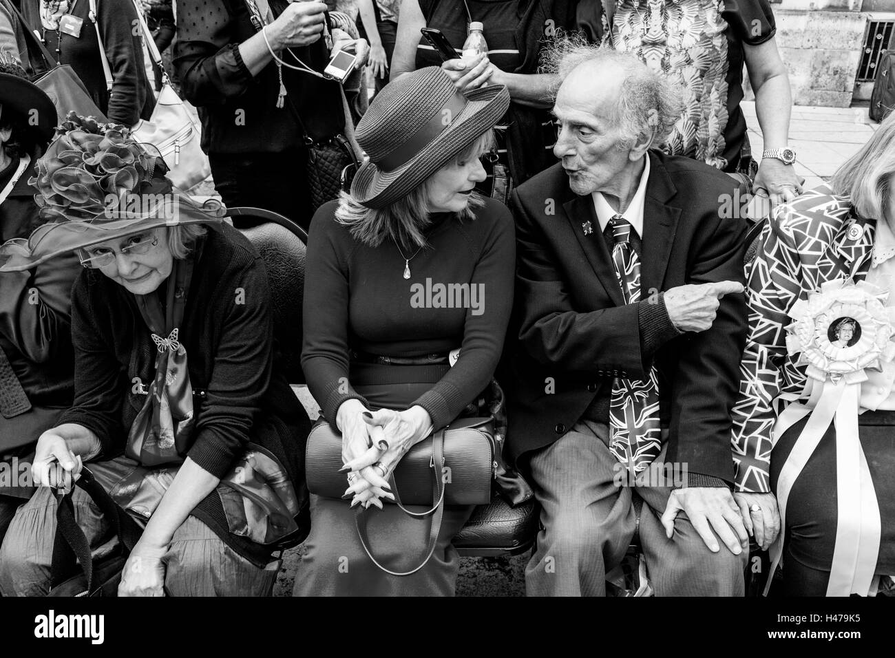 Londoners Chatting At The Pearly Kings and Queens' Harvest Festival, Held Annually At The Guildhall Yard, London, - Stock Image