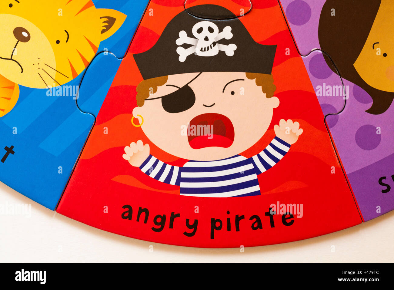 Angry pirate, part of ELC Funny Faces puzzle made from forest friendly cardboard Stock Photo