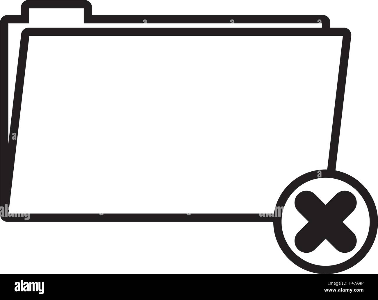 silhouette folder symbol to erased files vector illustration - Stock Vector