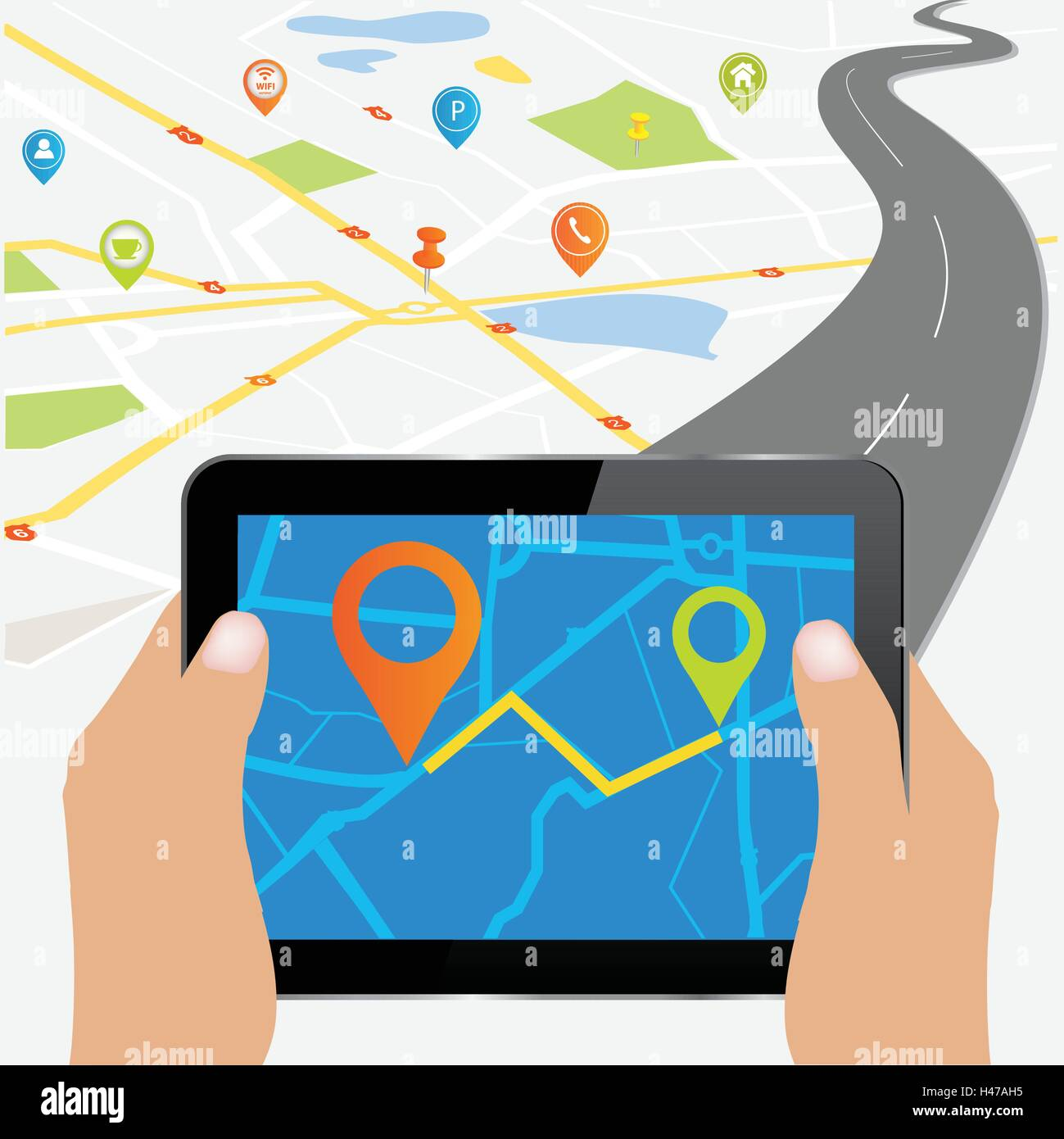 Tablet PC with detailed vector map with colorful pins indicating locations.City map with navigation icons. Hands - Stock Image