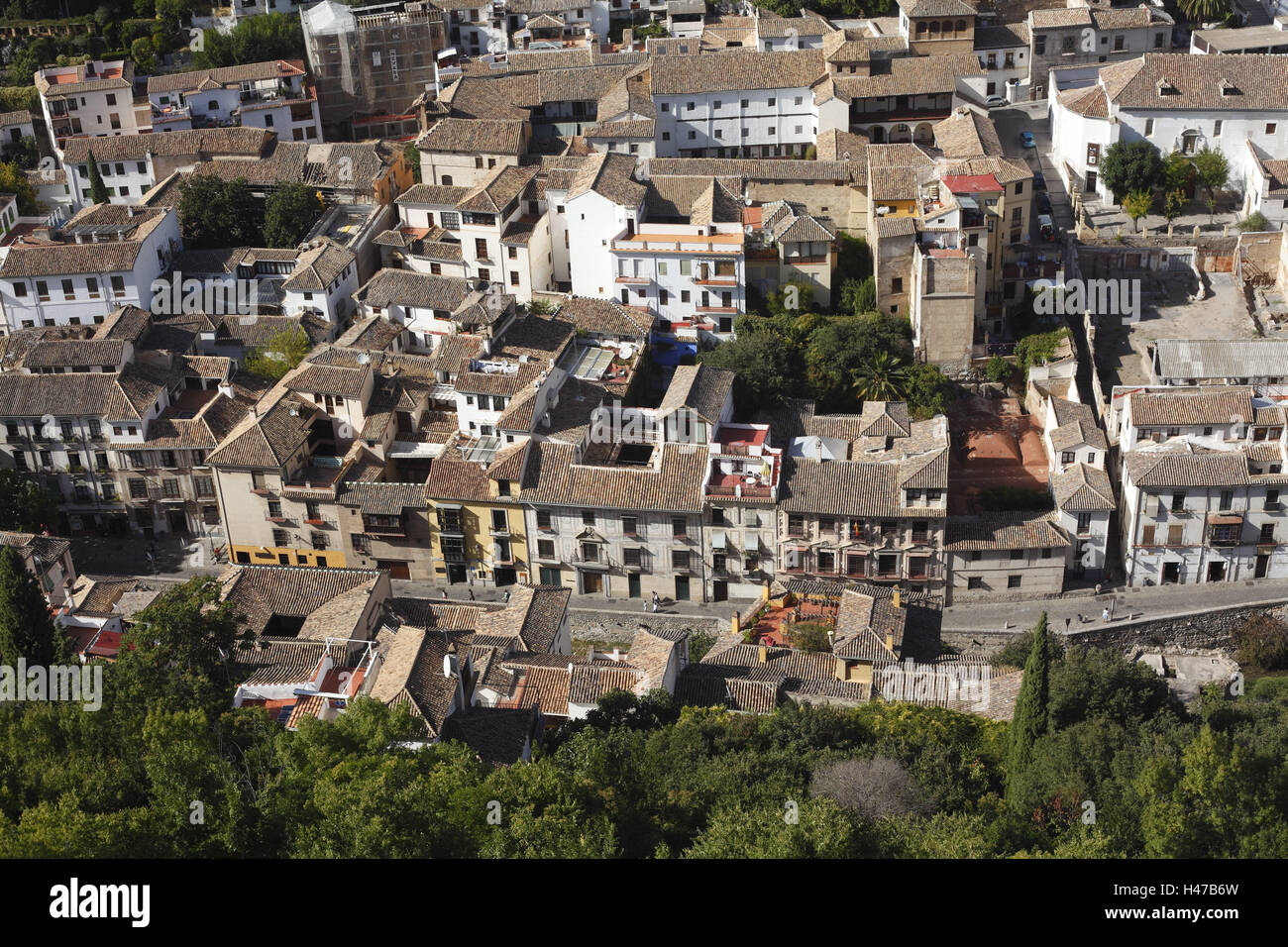 Spain, Andalusia, Granada, view Alhambra on the Old Town fourth