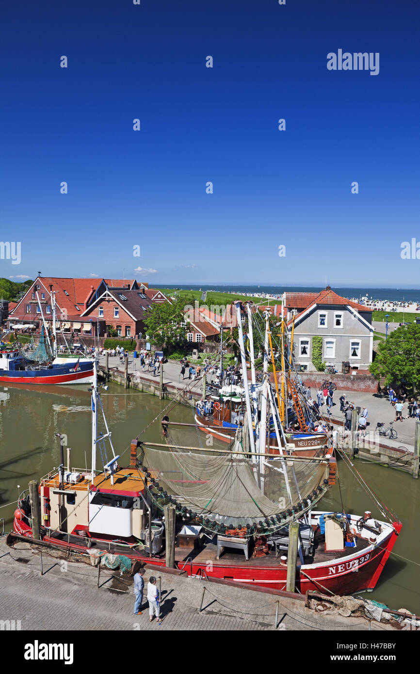 Crab cutters in the harbour Neuharlingersiel, overview, Stock Photo