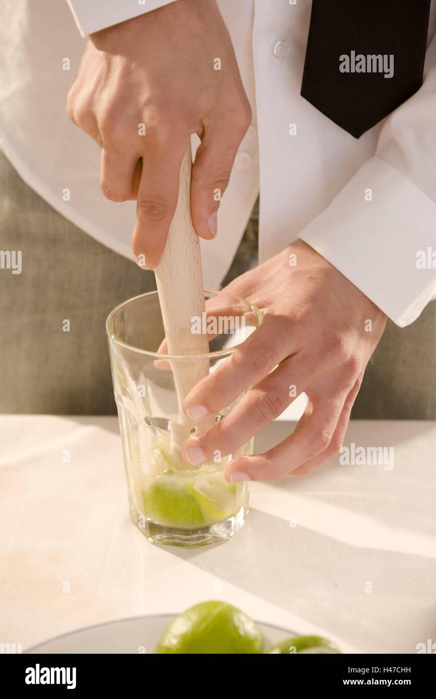 Barkeepers, detail, hands, cocktail, Caipirinha, prepare, glass, limes, mash, Stock Photo