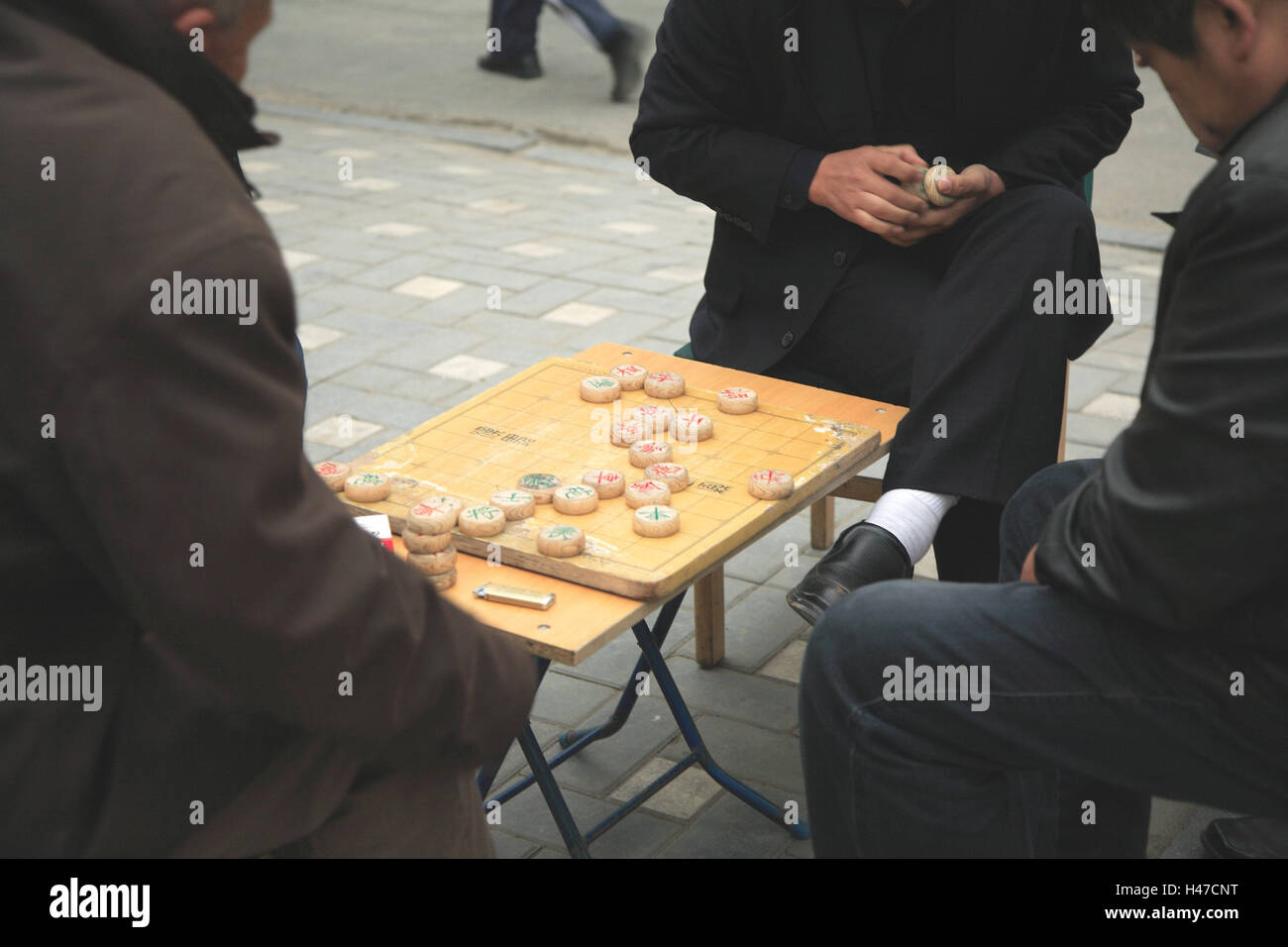 China, footpath, men, Chinese, chess, Xiangqi, Asia, culture, roadside, person, Chinese, three, table, stool, board, - Stock Image