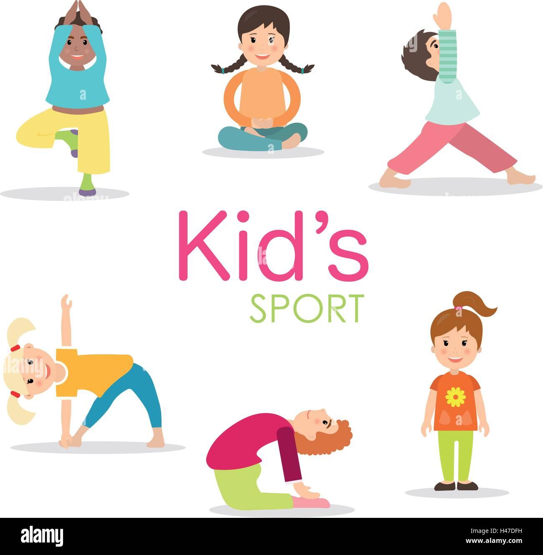 Yoga Kids Set Gymnastics For Children And Healthy Lifestyle Stock Vector Image Art Alamy