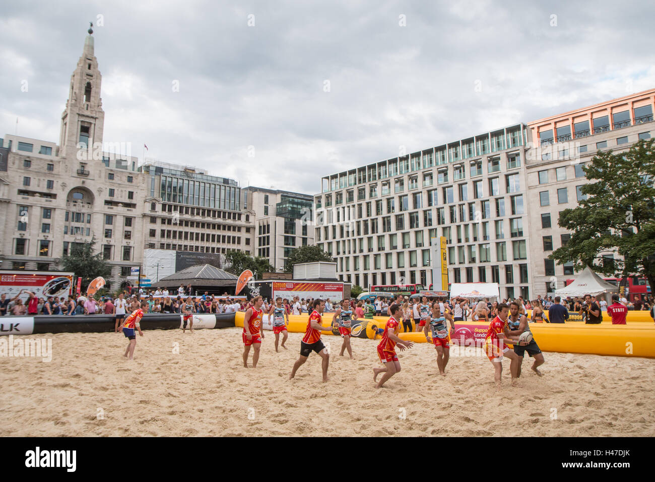 London Beach Rugby Tournament 2016 -Finsbury Square - Stock Image