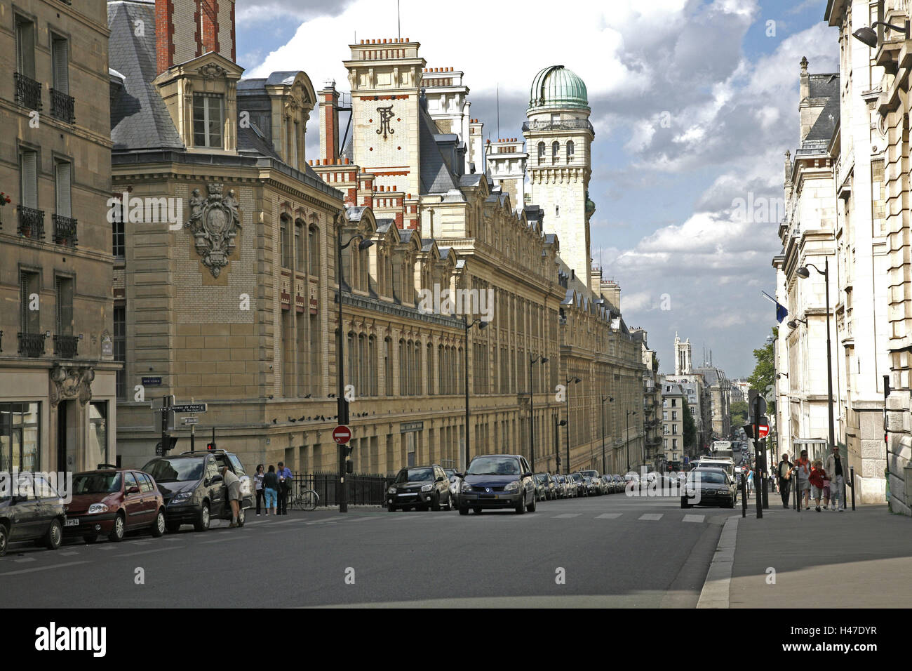 France, Paris, accommodation Latin, Rue Saint, Jaques, Sorbonne, university, street, passer-by, Europe, town, capital, Stock Photo