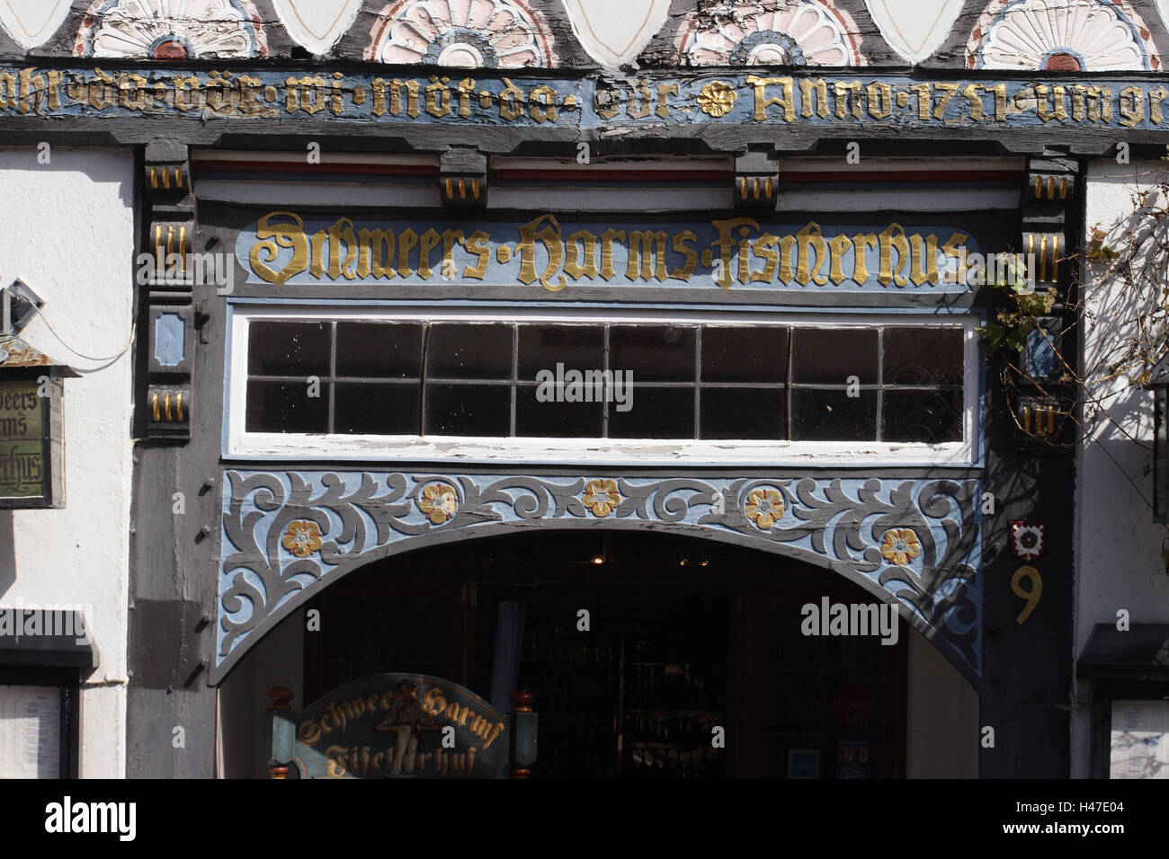 Germany, Lower Saxony, Steinhude, half-timbered house, facade, detail, city centre, house, building, half-timbered - Stock Image