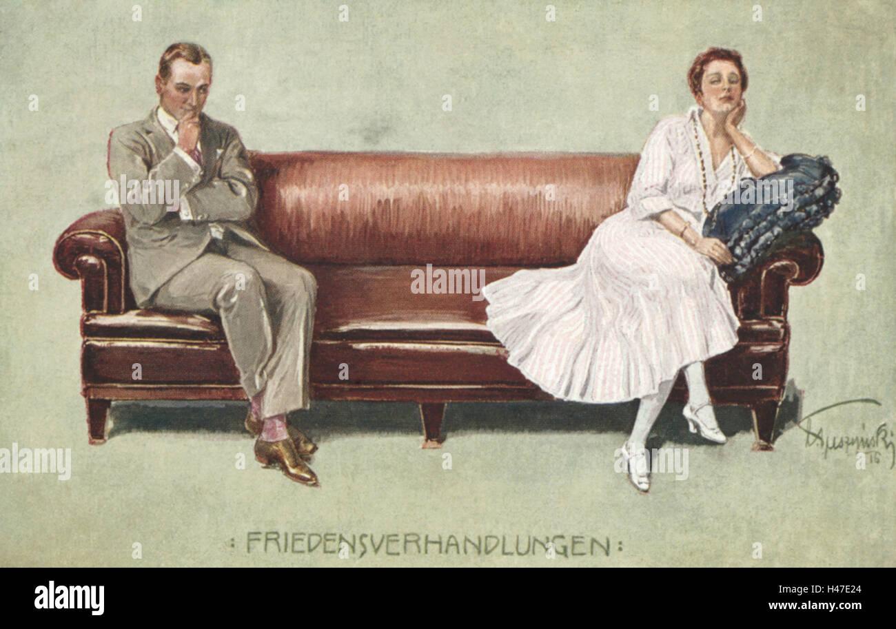 Nostalgia, Painting, Couple, Sofa, Distance, Conflict, Postcard, Nostalgic,