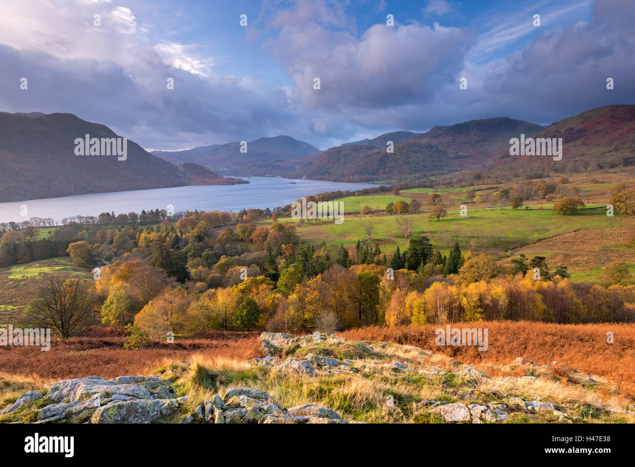 Autumnal view towards Ullswater in the Lake District National Park, Cumbria, England. Autumn (November) 2014. - Stock Image