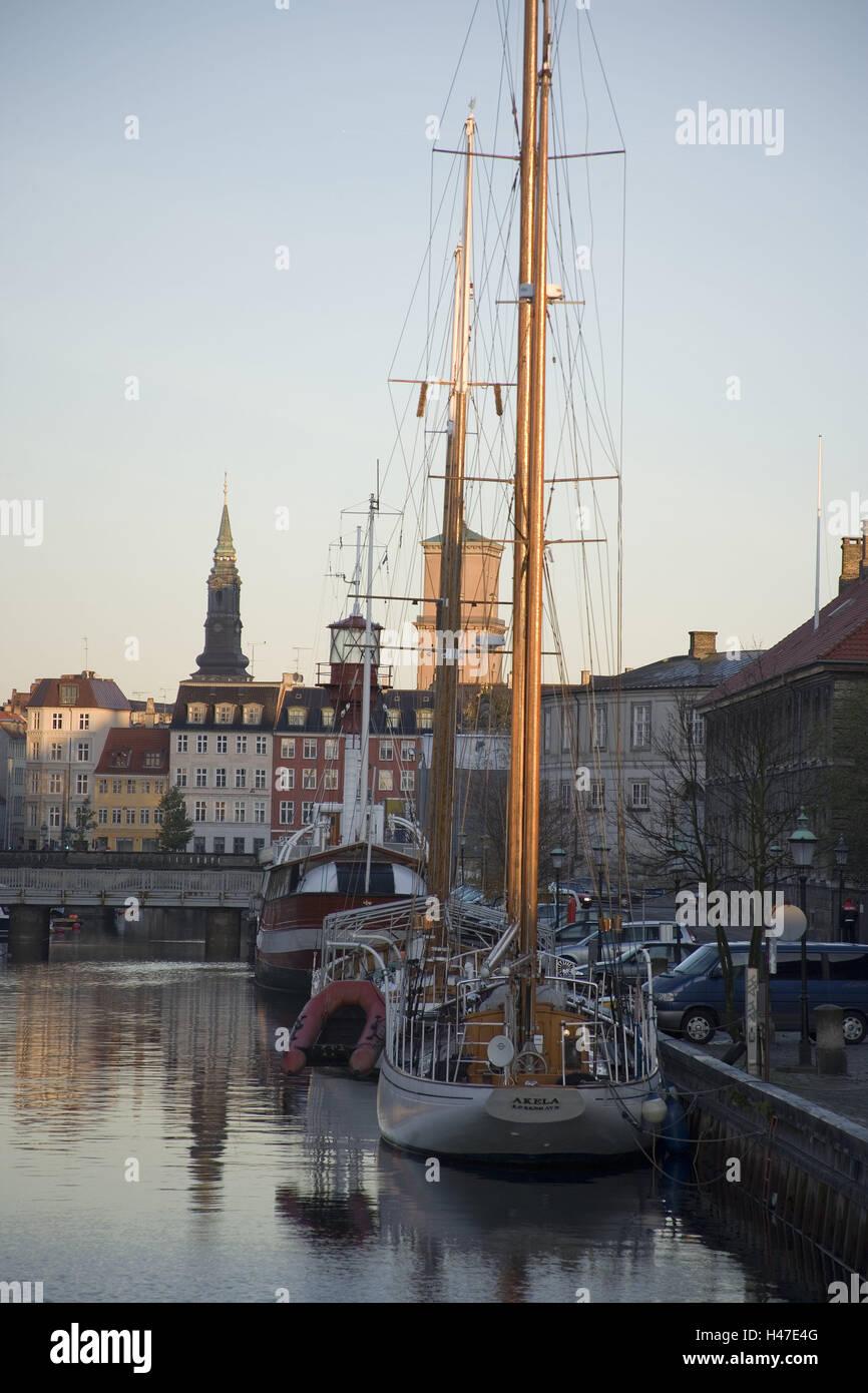 Denmark, Copenhagen, channel, boots, invest, sundown, capital, houses, residential houses, bank promenade, promenade, - Stock Image