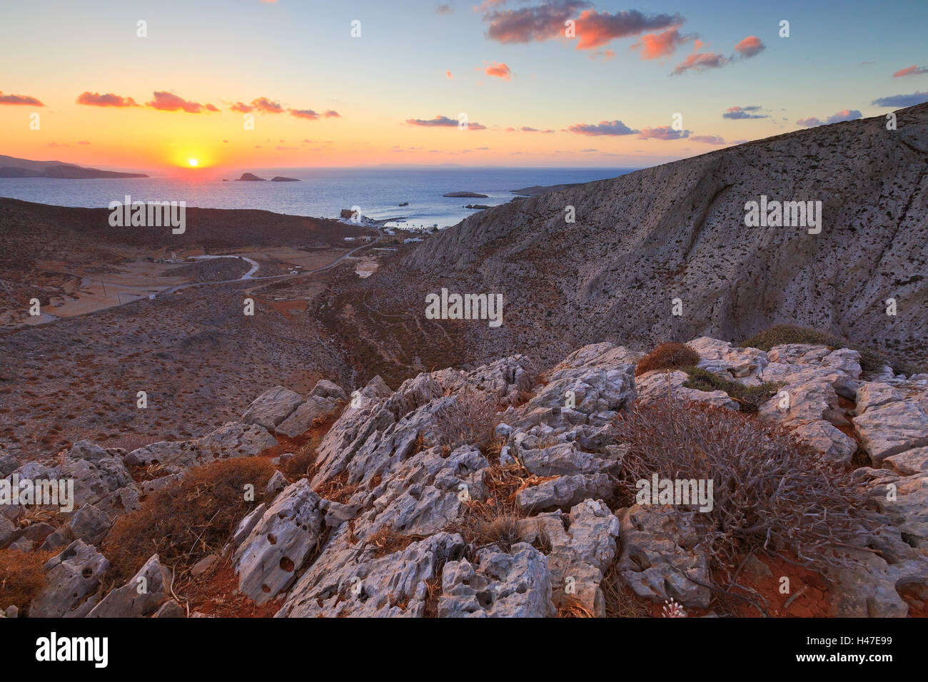 View of Karavostasis village from a nearby mountain. - Stock Image