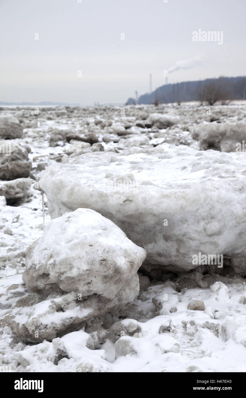 Elbufer, pack ice, Stock Photo