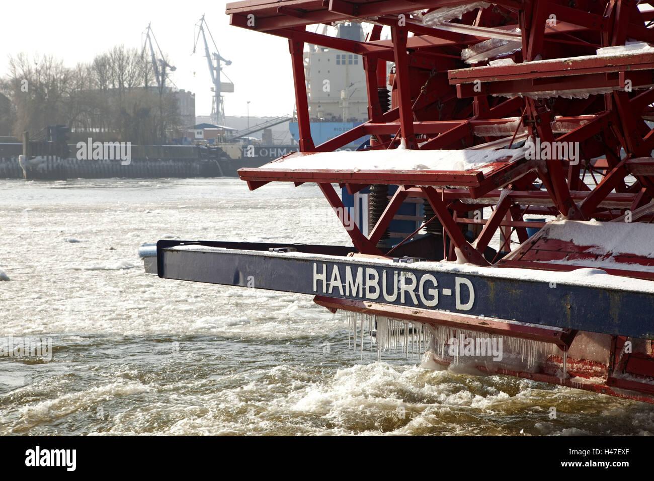 Hamburg, harbour, bucket wheel steamboat, freezes over, detail, winter, - Stock Image