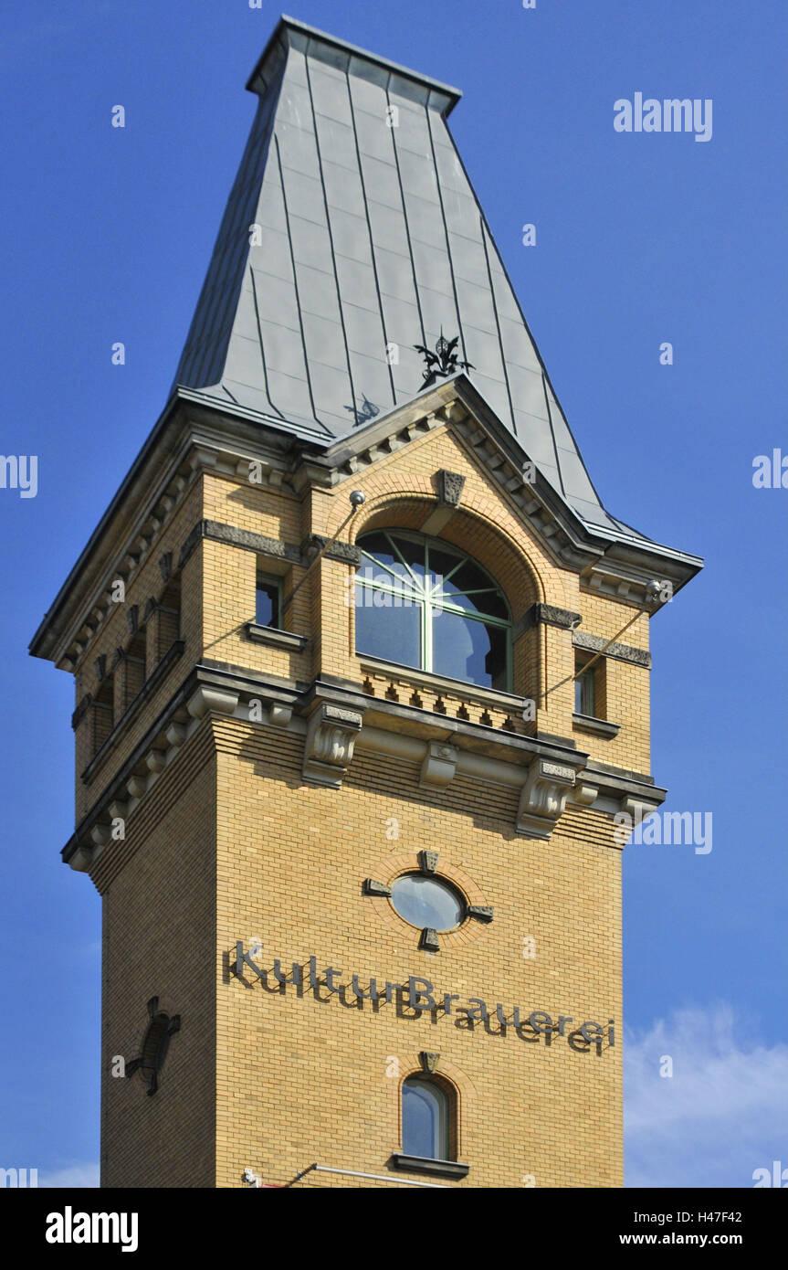 Cultural brewery magistrate, tower, Sredzkistrasse, Schönhauser avenue, Berlin, Germany, - Stock Image