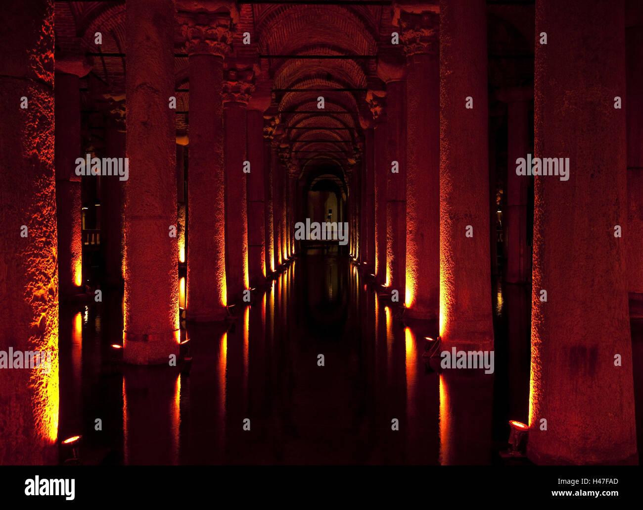Colonnade, darkly, light, cistern, vault, pillars, place of interest, water tank, interior shot, architecture, basilica, - Stock Image