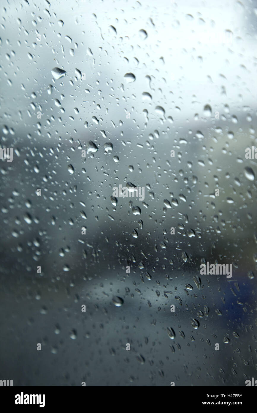 Window pane, raindrops, pane, rain, drops, outdoor shot, background, nobody, - Stock Image