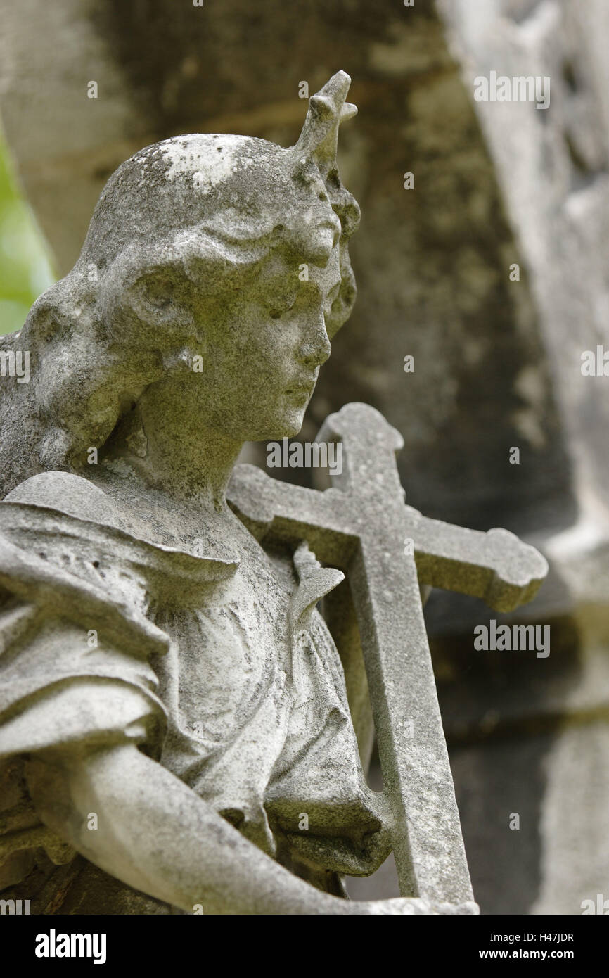 grave yard, grave, statue, angels, cross, detail, - Stock Image