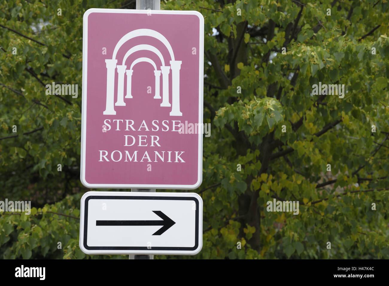 Sign, signpost, 'street the romanticism', Ilse's castle, Harz, Saxony-Anhalt, Germany, - Stock Image