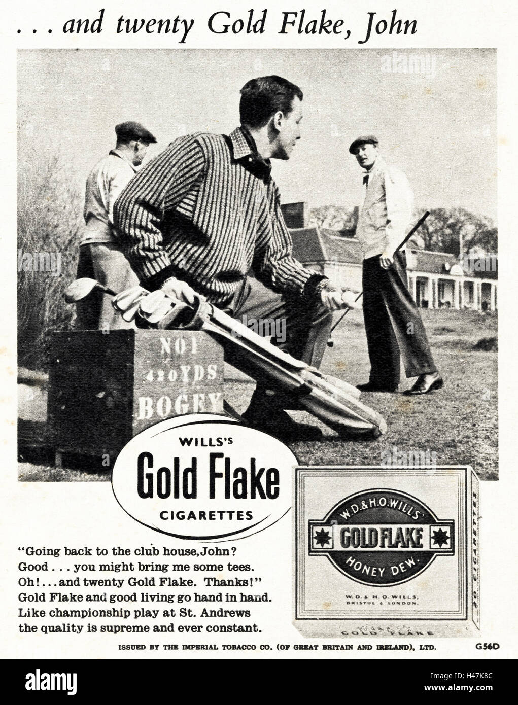 1950s advertising advert from original old vintage magazine dated 1952 advertisement for WD & HO Wills Honey - Stock Image