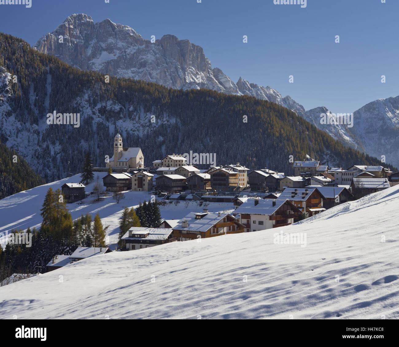 Italy, Veneto, Colle Tu Santa Lucia, church, Monte Civetta, - Stock Image