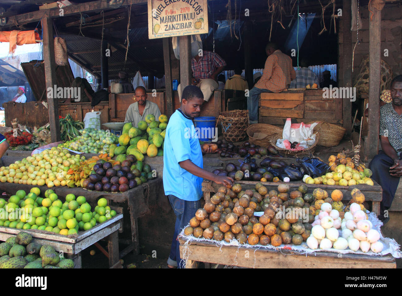Market in Stone Town on Zanzibar, - Stock Image