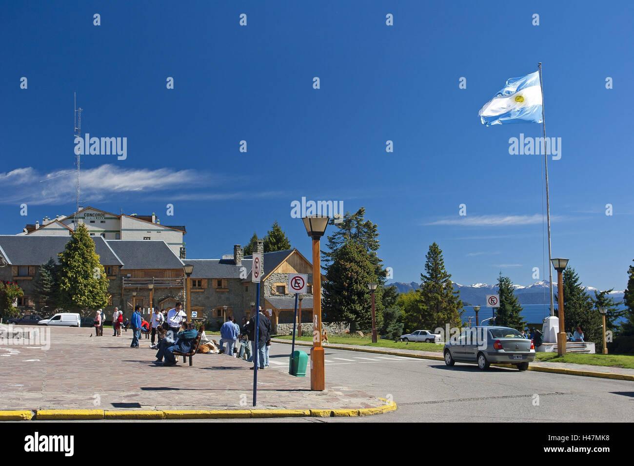 Argentina, Patagonia, Bariloche, space Centro Civico in the lake Lago Nahuel Huapi, tourists, - Stock Image