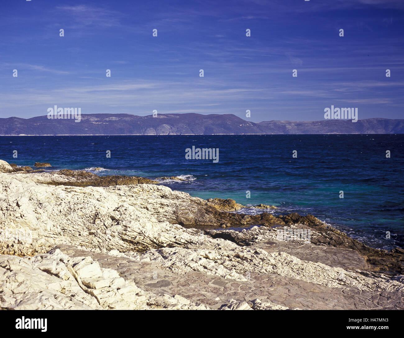 Croatia, Istria, Kvarner bay, Rabac, bile coast, mountains, sea, Adriatic, seaside resort, the Balkans, colours, - Stock Image