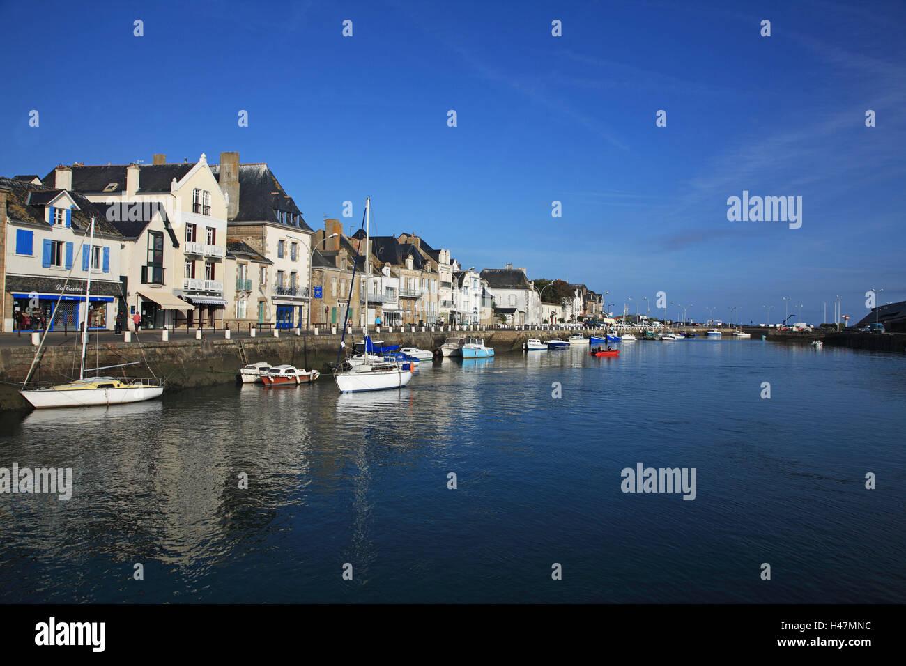 France, Brittany, Loire-Atlantique, canton Le Croisic, harbour, boots, Europe, architecture, houses, buildings, Stock Photo