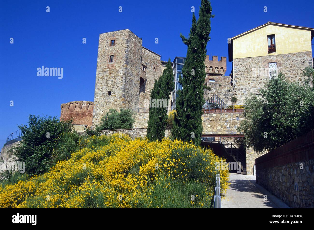 Italy, Tuscany, Casole d'Elsa, fortress, broom, fortress