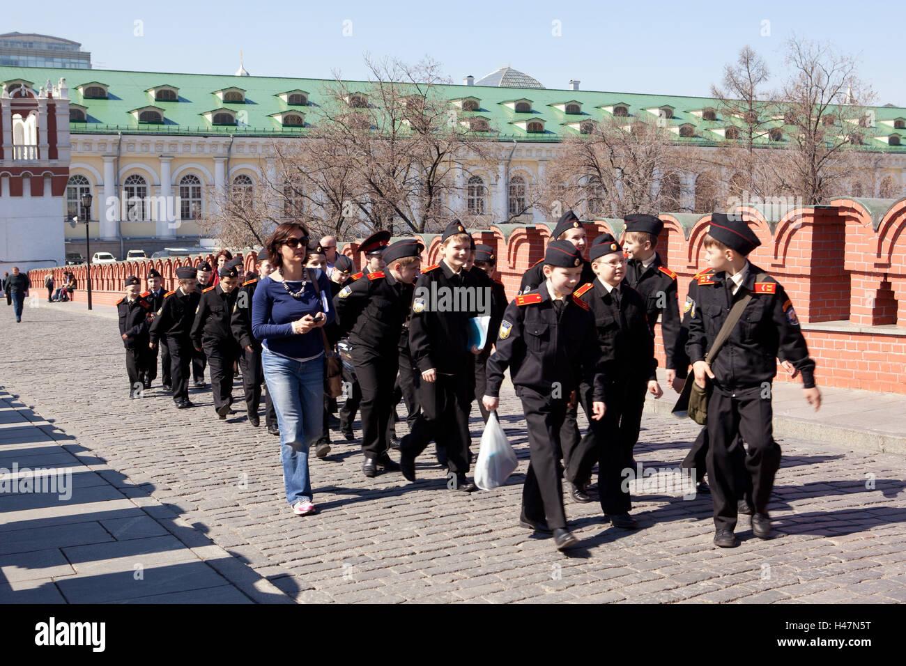Moscow, Kremlin, group schoolchildren, - Stock Image