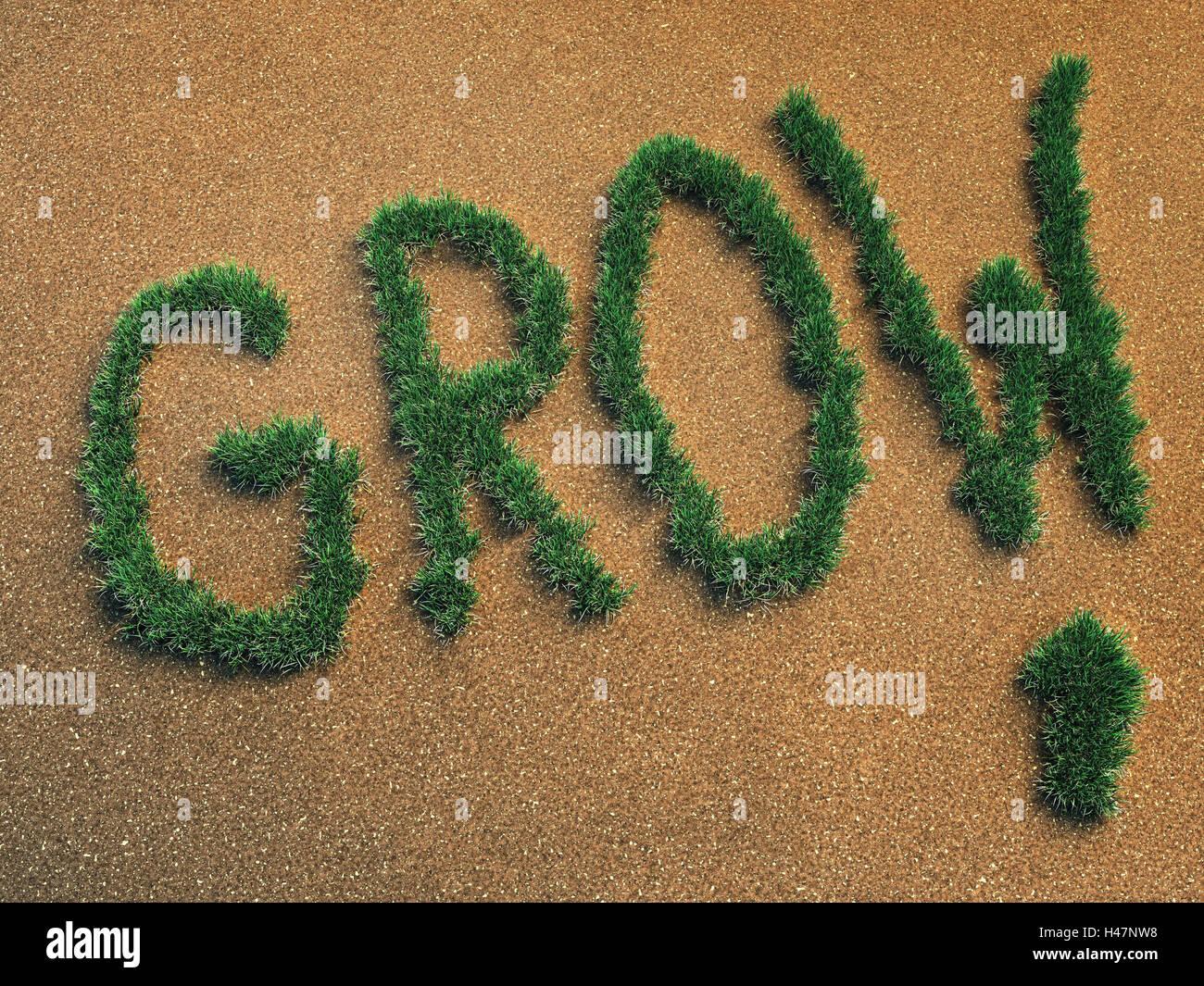 Computer graphics, sandy soil, GROW, economic growth, grass, growth, grow, icon, Sand, upward, promotion, increase, - Stock Image